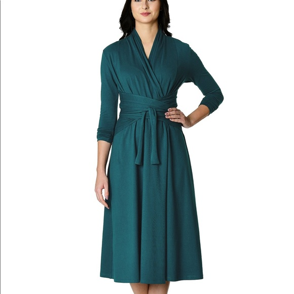 eshakti Dresses & Skirts - EShakti wrap cotton dress 18w black EUC pockets!